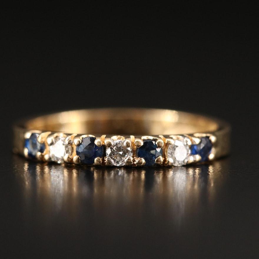 14K Sapphire and Diamond Band