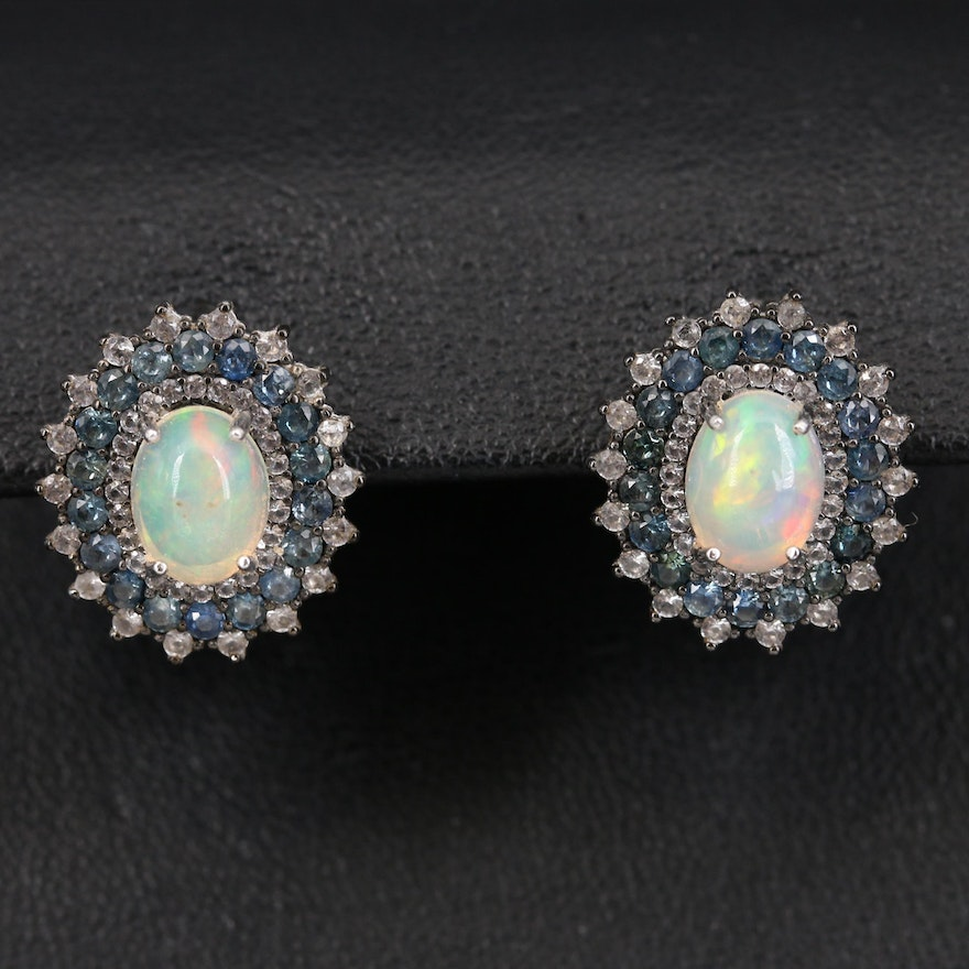 Sterling Silver Opal, Topaz and Sapphire Earrings