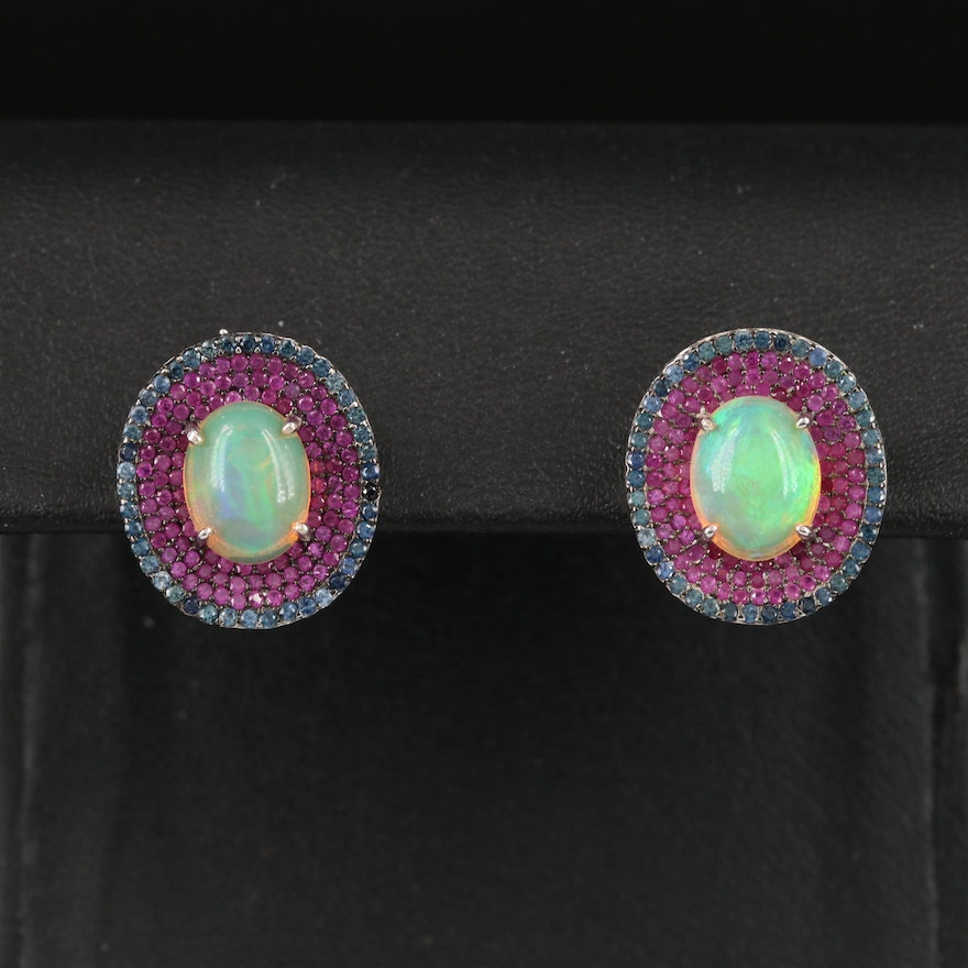 Sterling Opal, Sapphire and Ruby Earrings