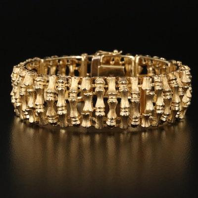 Vintage Brev Italian 14K Yellow Gold Bamboo Panel Bracelet