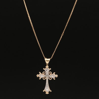 10K and 14K Diamond Cross Necklace