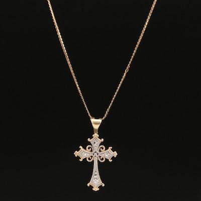 10K and 14K Diamond Cross Necklace