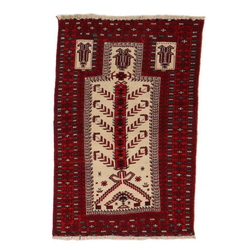 3'3 x 5'7 Hand-Knotted Persian Turkmen Prayer Rug, 1960s