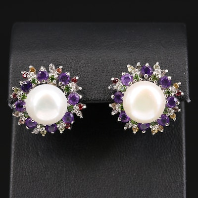 Sterling Pearl, Amethyst and Sapphire Button Earrings