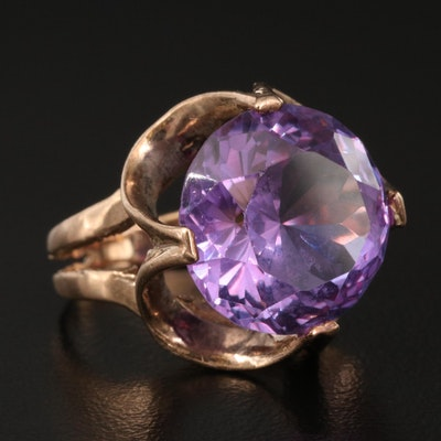 1960s 9K Sapphire Ring with Openwork Setting