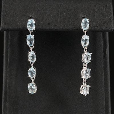 Sterling Aquamarine Drop Earrings