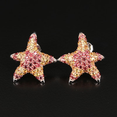 Sterling Multi-Colored Sapphire Starfish Button Earrings
