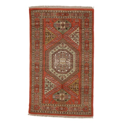 3'5 x 6' Hand-Knotted Turkish Caucasian Rug, 1960s