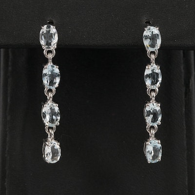 Sterling Aquamarine Drop Earrings