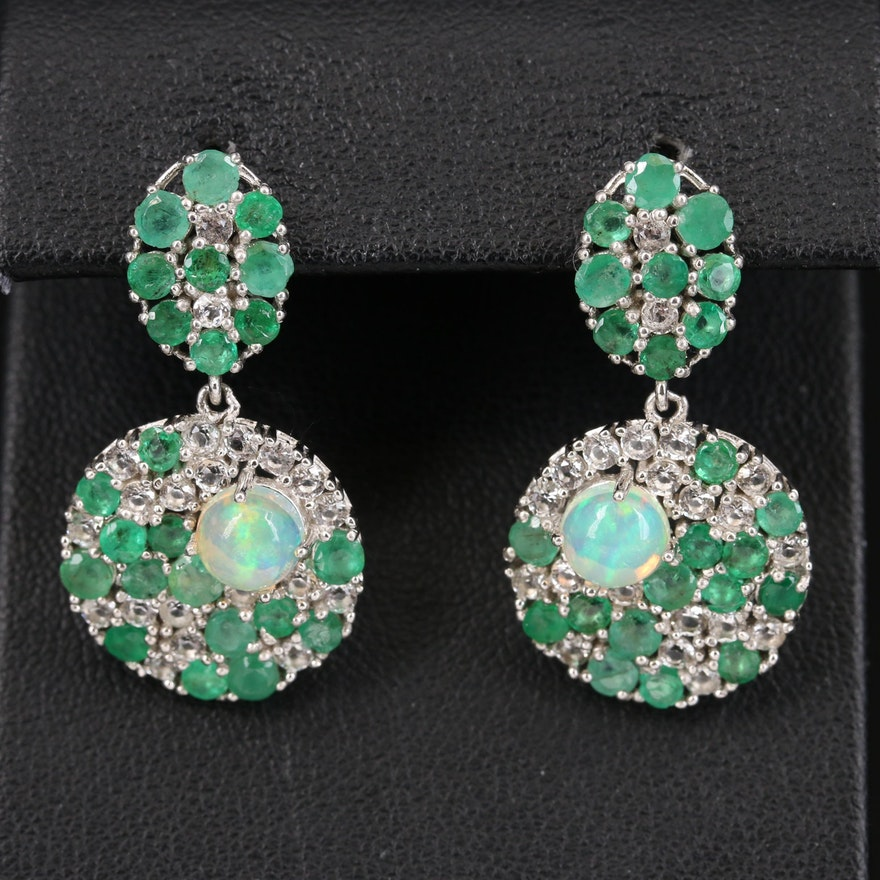 Sterling Opal, Emerald and Topaz Cluster Disk Earrings