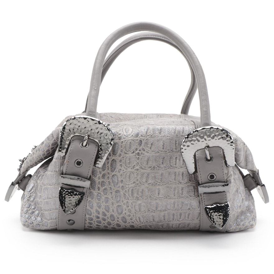 Charm and Luck Croc-Embossed Leather Tote Bag