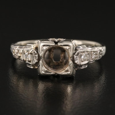 Vintage 14K Diamond Semi-Mount Ring