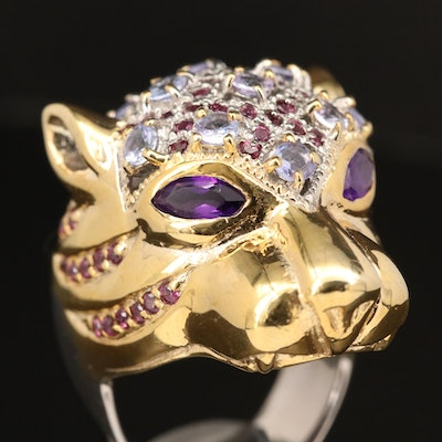 Sterling Feline Head Ring with Amethyst, Tanzanite and Rhodolite Garnet