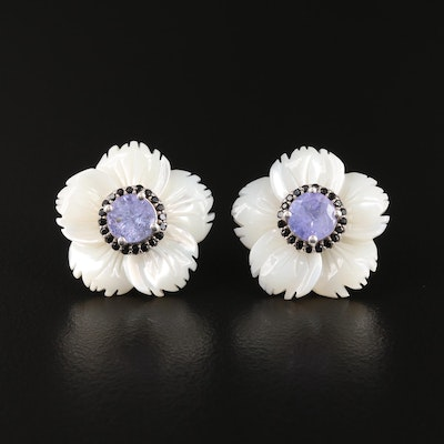 Sterling Mother of Pearl, Tanzanite and Cubic Zirconia Flower Button Earrings
