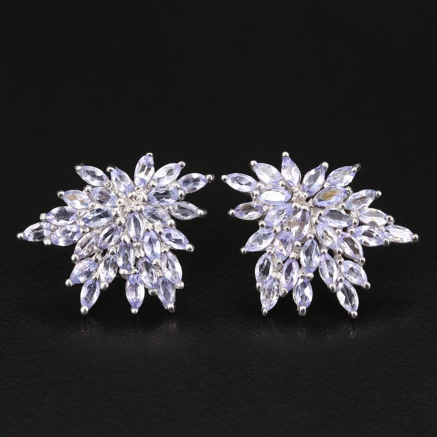 Sterling Tanzanite Cluster Earrings