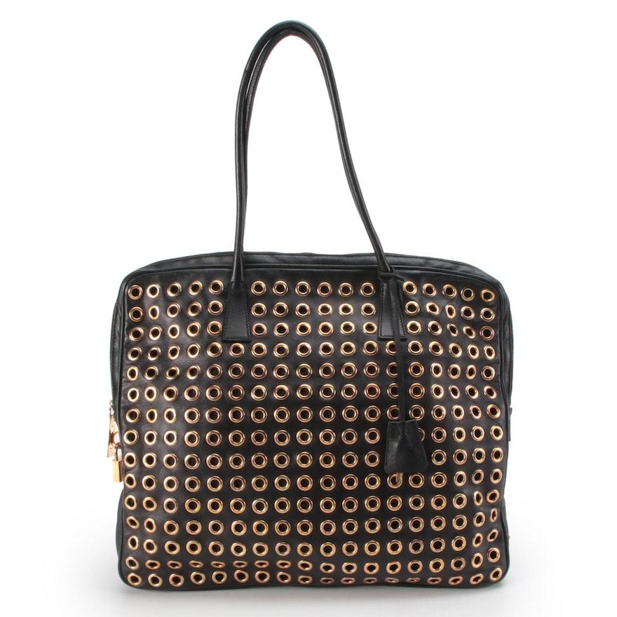 Prada Grommet Lock Shoulder Bag in Black Nappa Leather