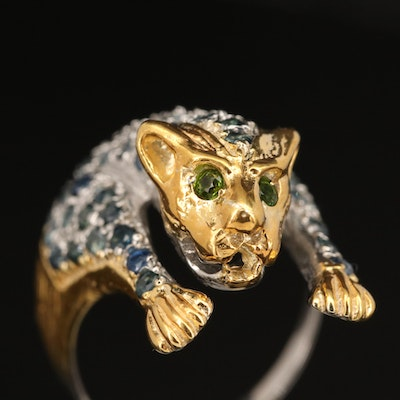 Sterling Silver Sapphire and Diopside Leopard Ring