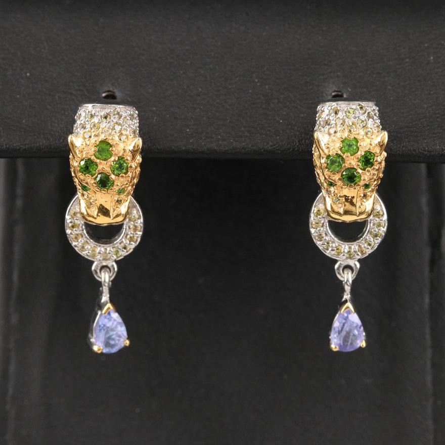 Sterling Tanzanite, Diopside and Sapphire Door Knocker Earrings