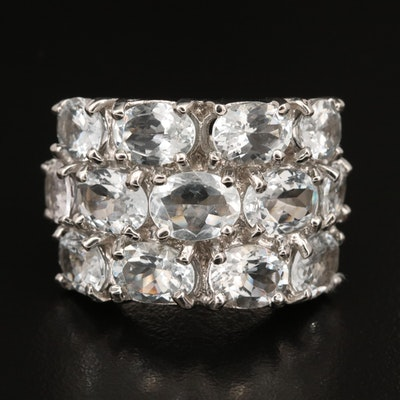 Sterling Aquamarine Multi-Row Ring
