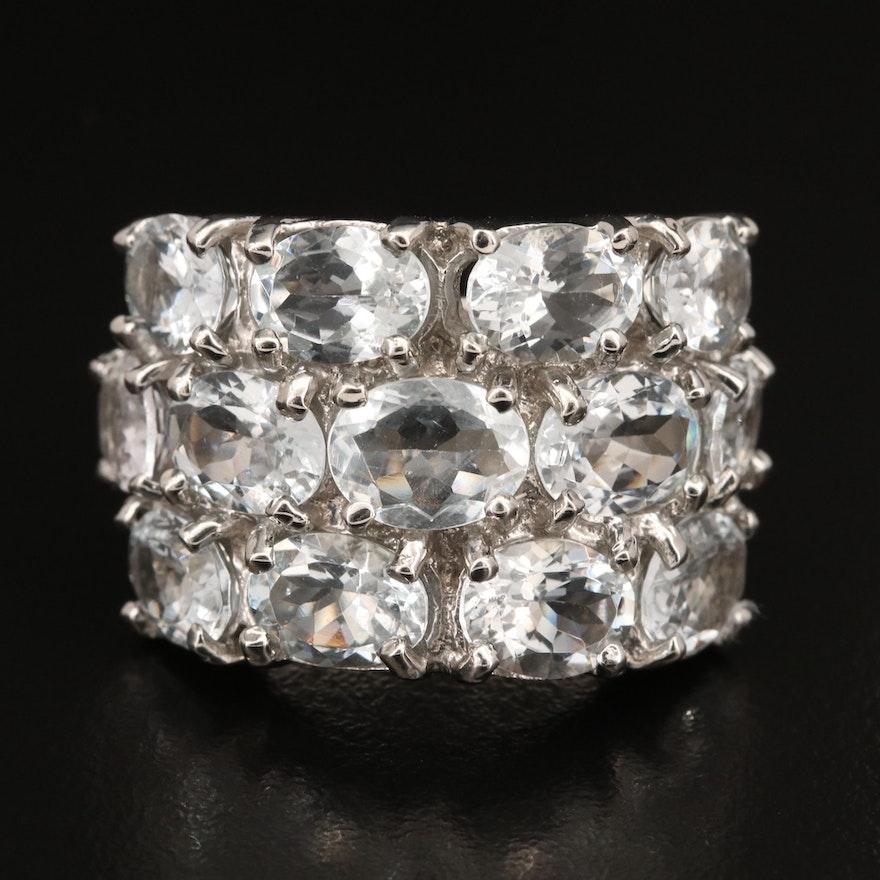 Sterling Aquamarine Multi-Row Ring
