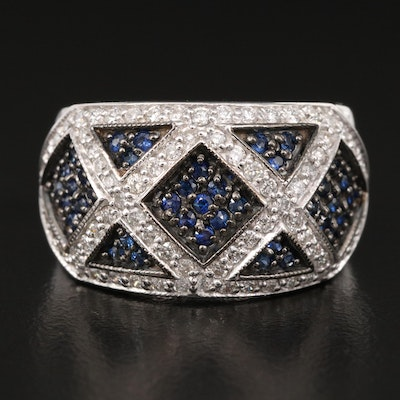 14K Sapphire and Diamond Lattice Pattern Ring