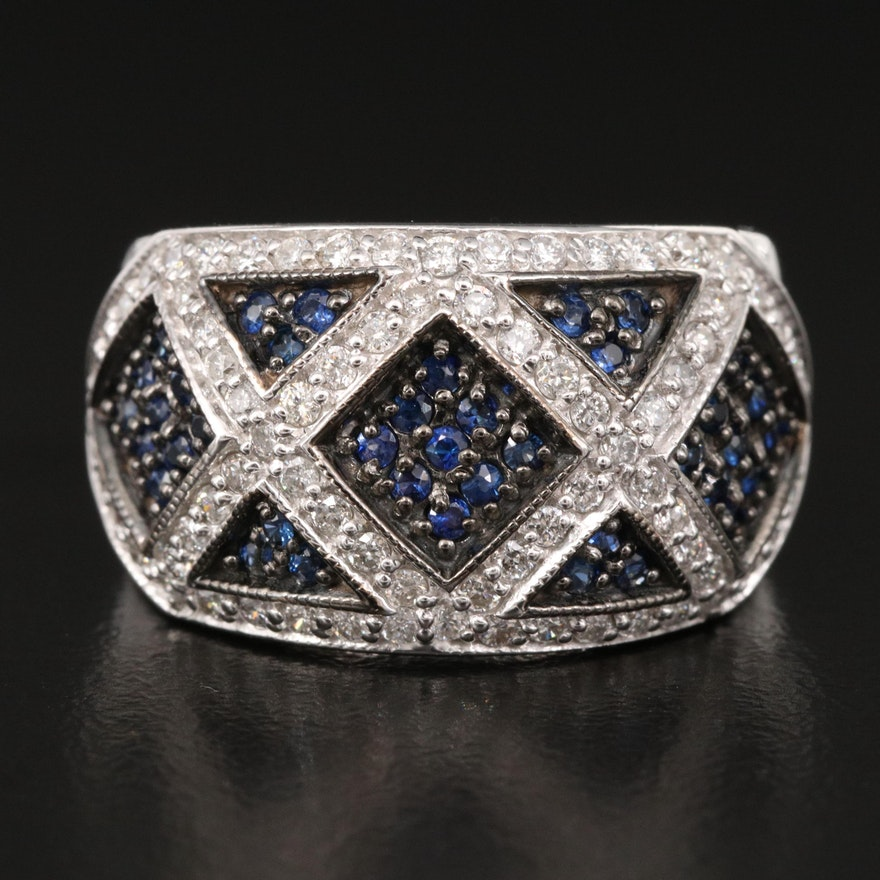14K Sapphire and Diamond Lattice Pattern Ring