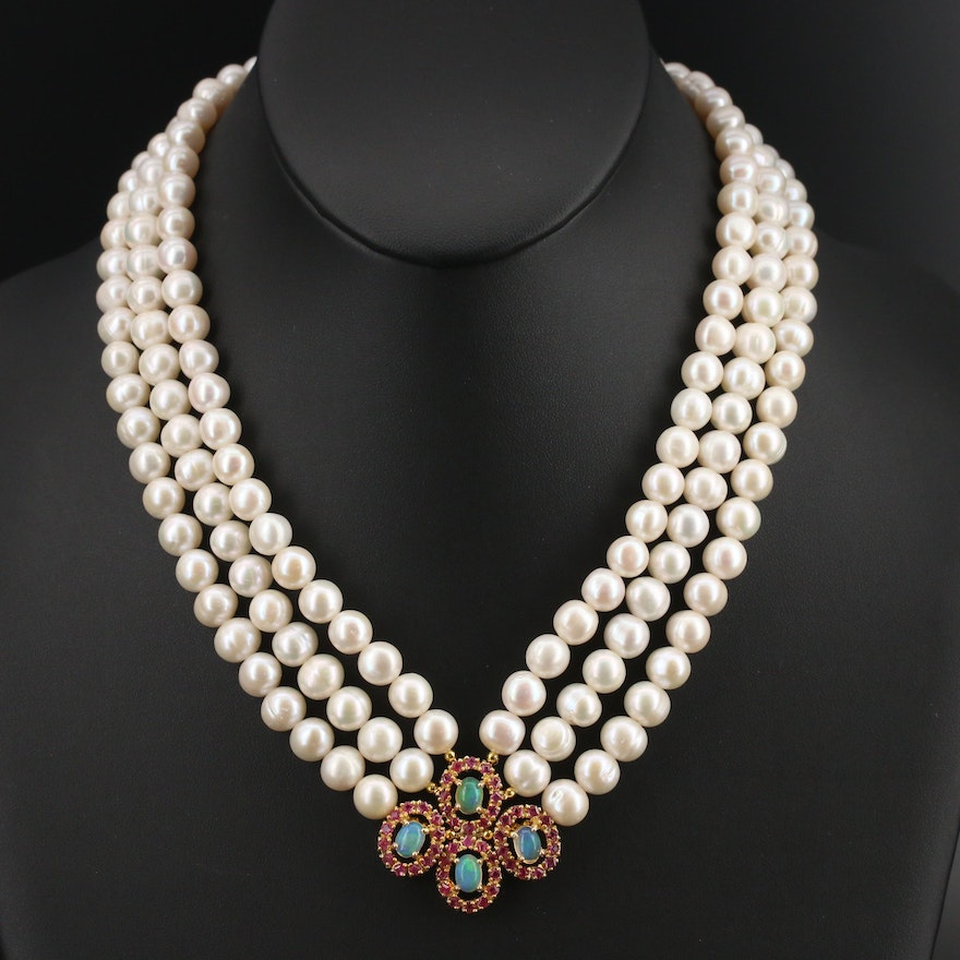 Sterling Pearl and Gemstone Mulit-Strand Necklace