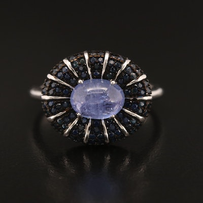 Sterling Tanzanite and Sapphire East-West Ring