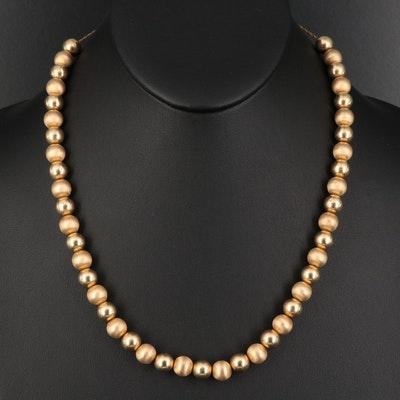 14K Bead Necklace with Alternating Smooth and Matte Finishes