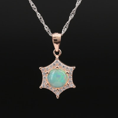 Italian Sterling Opal and Cubic Zirconia Pendant Necklace