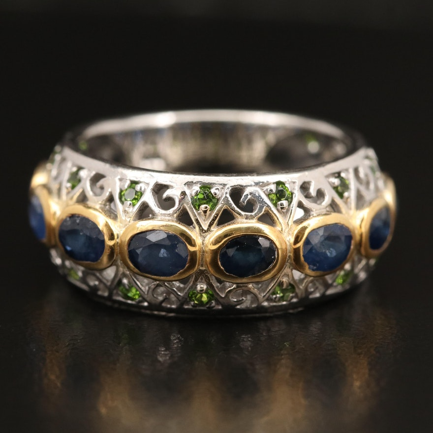 Sterling Sapphire and Diopside Openwork Band
