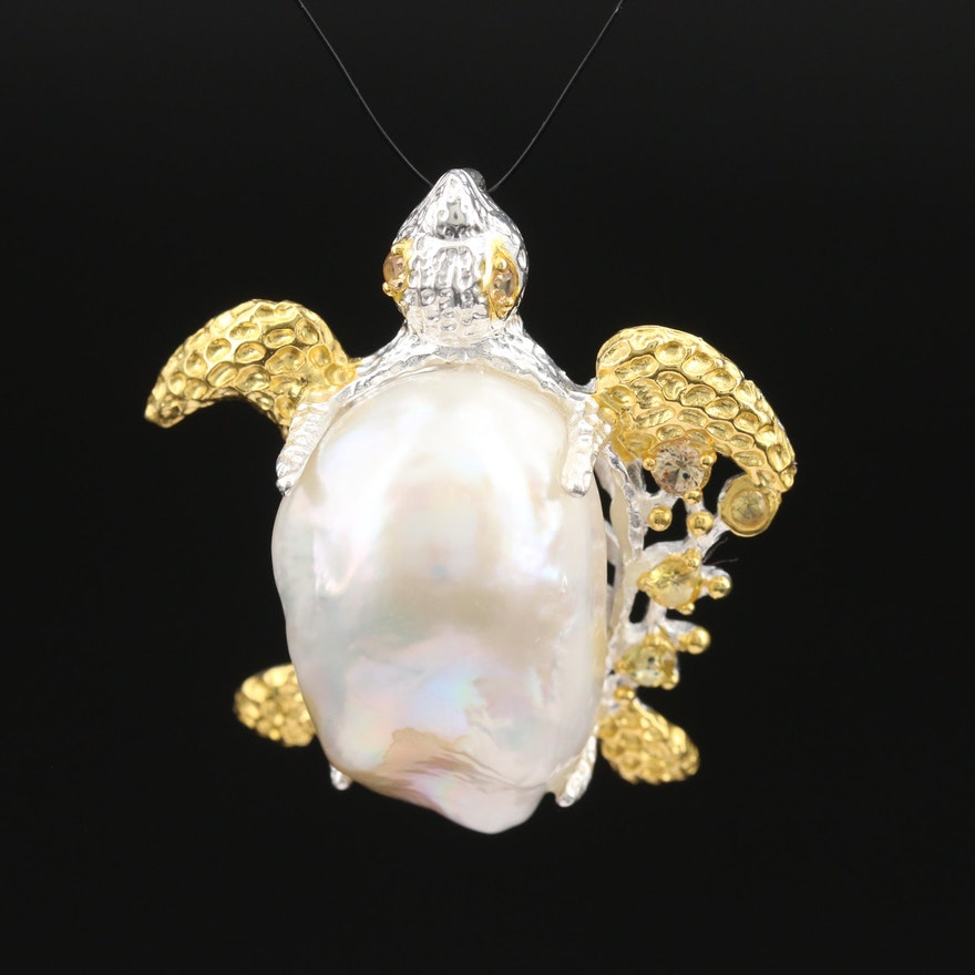 Sterling Pearl and Sapphire Turtle Slide Pendant