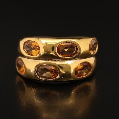 Sterling Gypsy Set Citrine Band
