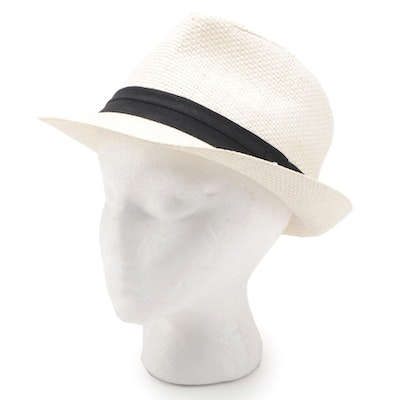Panama Jack Woven Fedora Hat in Ivory with Black Hatband