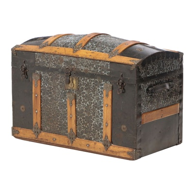 Late Victorian Slatted Oak and Foliate-Embossed Metal Dome-Top Steamer Trunk