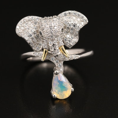 Sterling Pavé Cubic Zirconia and Opal Drop Elephant Ring