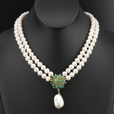Sterling Pearl, Beryl and Corundum Double Strand Floral Necklace