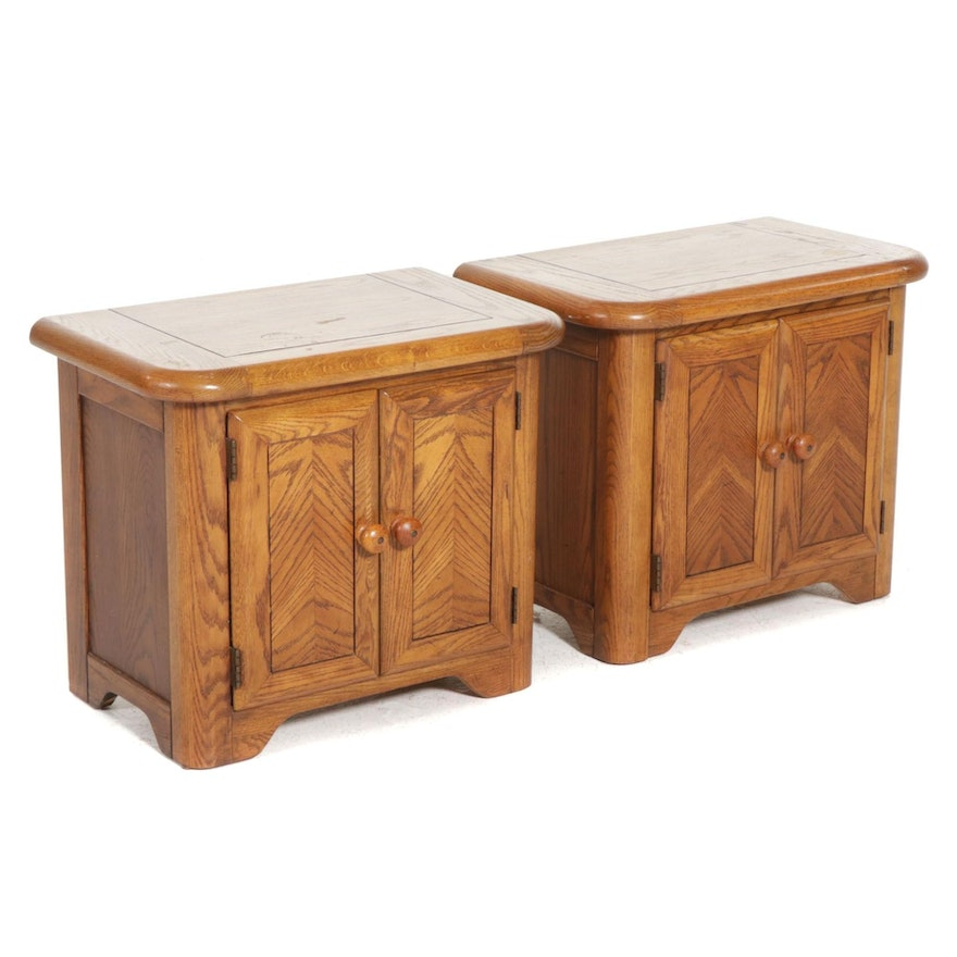 Two Oak Nightstands, Late 20th Century
