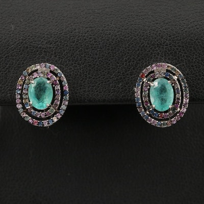 Sterling Silver Emerald and Sapphire Double Halo Earrings