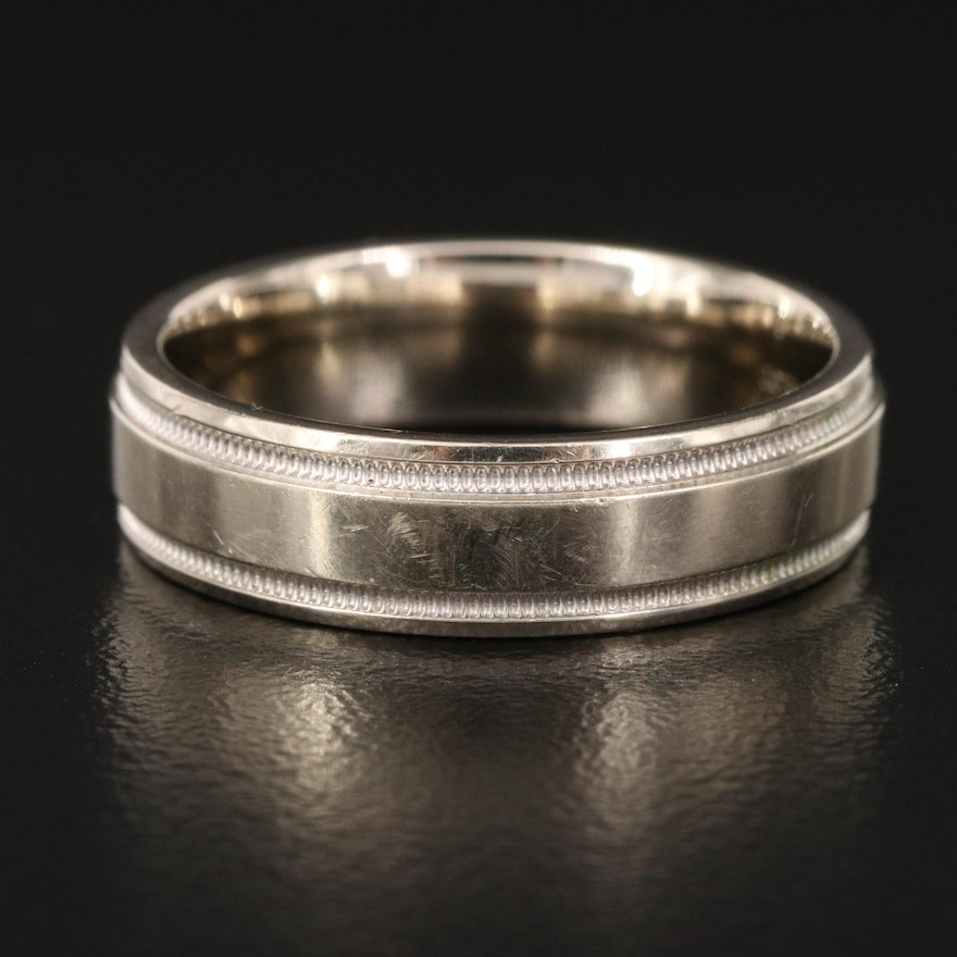 14K Band with Grooved Edges