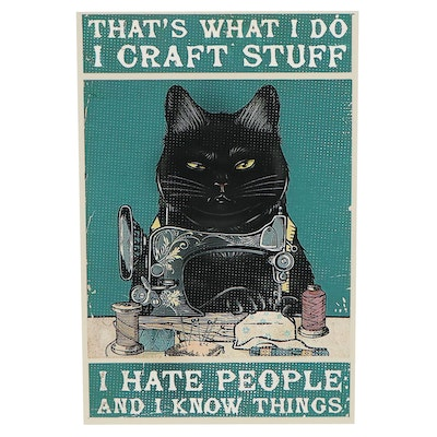 Giclée of Black Cat Sewing, 21st Century