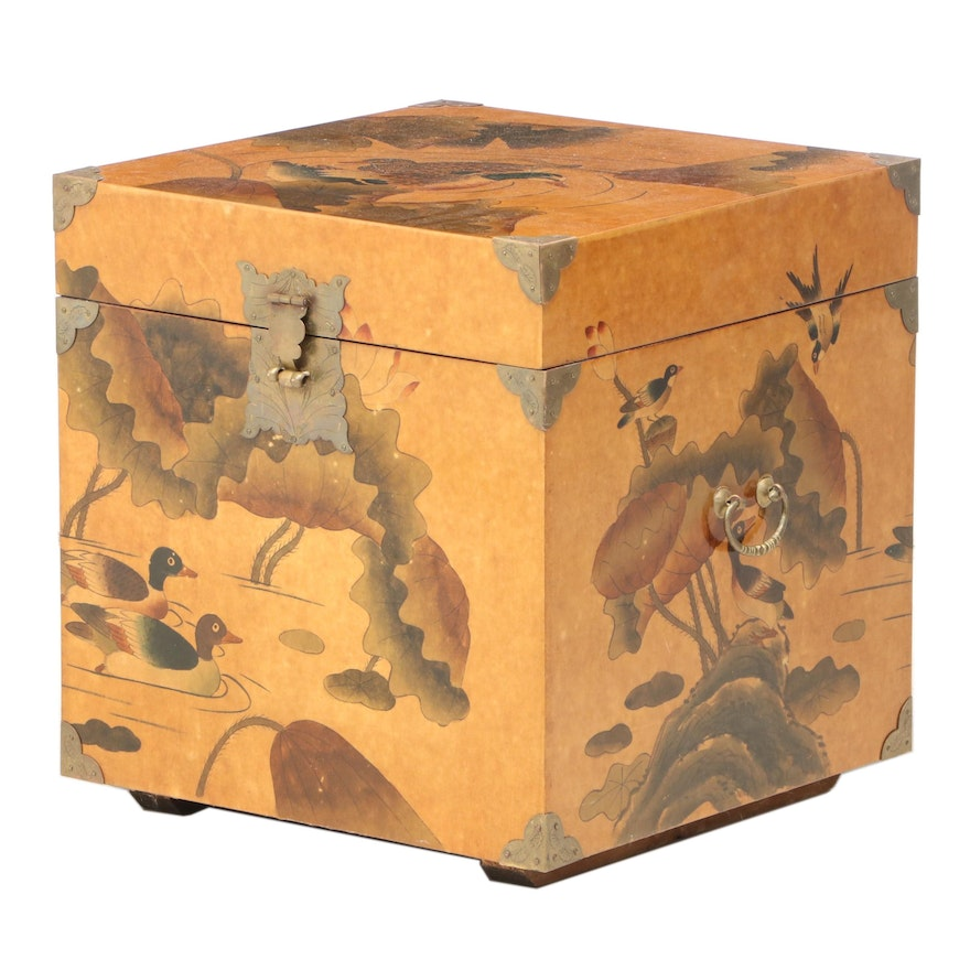 Chinese Brass-Mounted and Lacquered Trunk