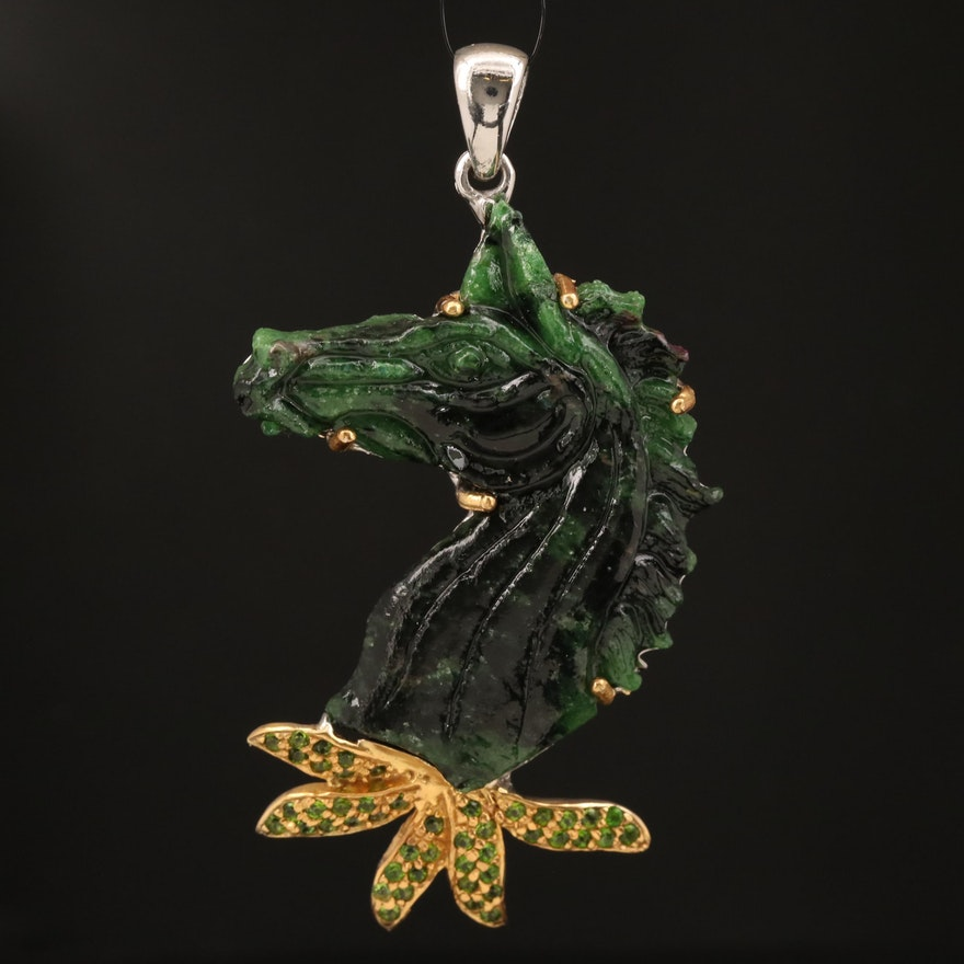 Sterling Fuchsite and Diopside Carved Horse Head Pendant