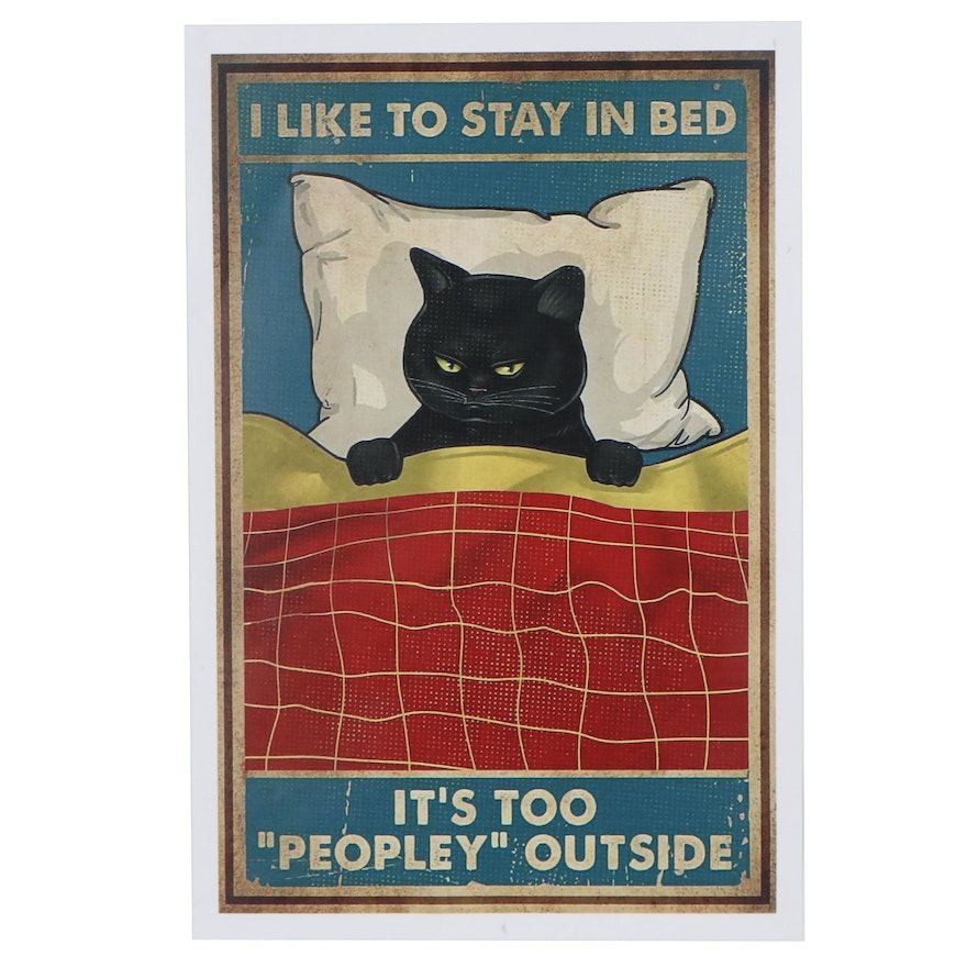 Giclée of Black Cat in Bed, 21st Century
