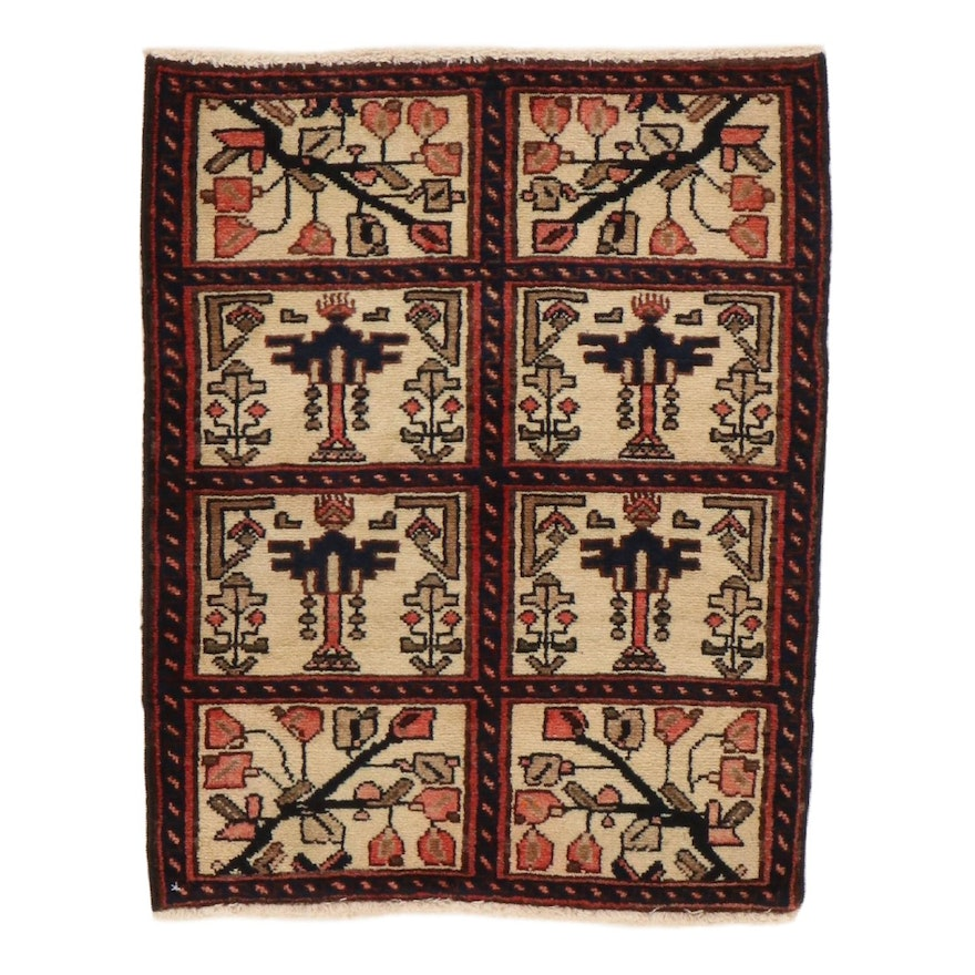 2' x 2'7 Hand-Knotted Persian Bakhtari Rug, 1970s