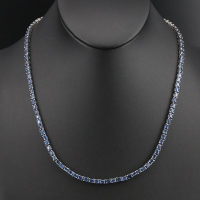 Sterling Sapphire Rivière Necklace