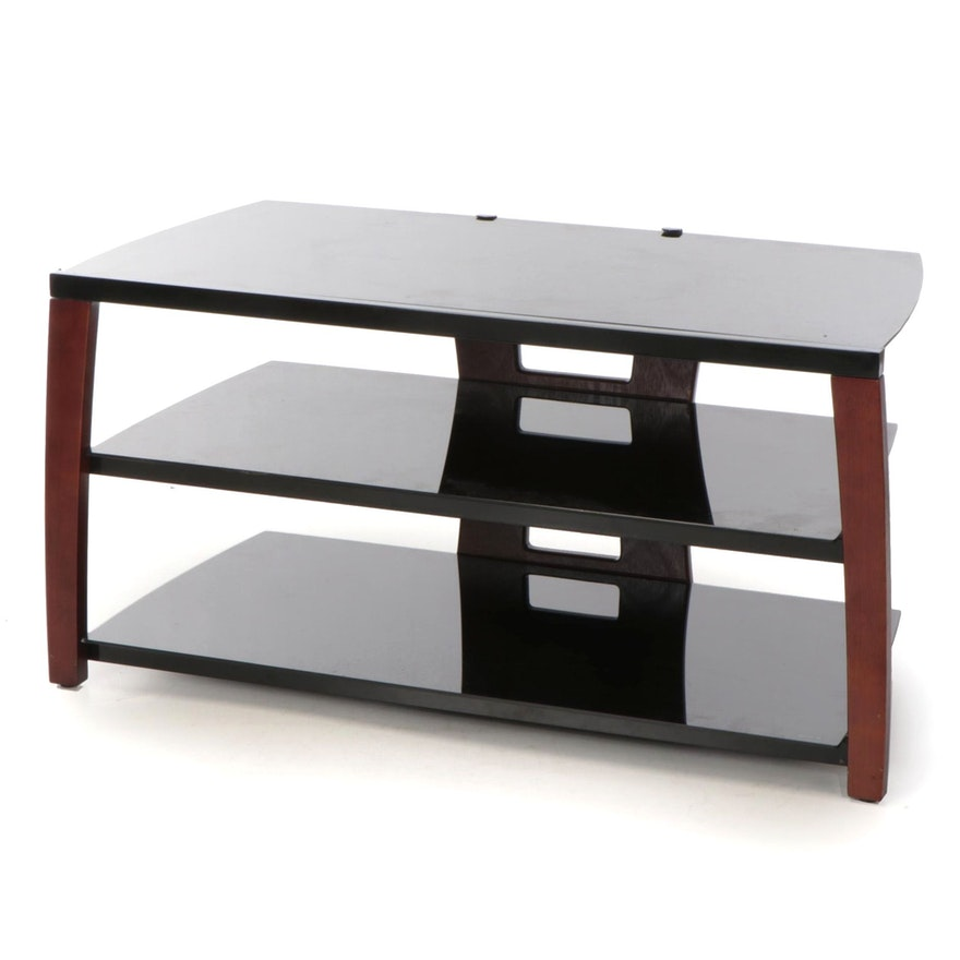 Mahogany Stained Media Stand with Tempered Glass, Late 20th/Early 21st Century