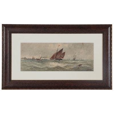 Thomas Bush Hardy Nautical Watercolor Painting, Late 19th Century