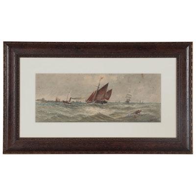 Thomas Bush Hardy Nautical Watercolor Painting, Late 19th Century