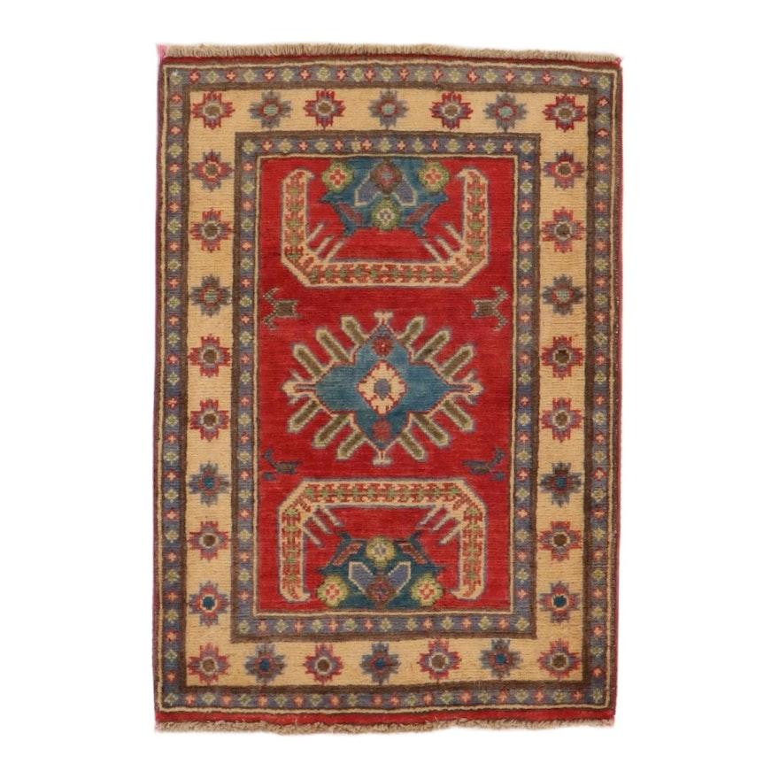 2' x 3' Hand-Knotted Afghan Kazak Rug, 2010s